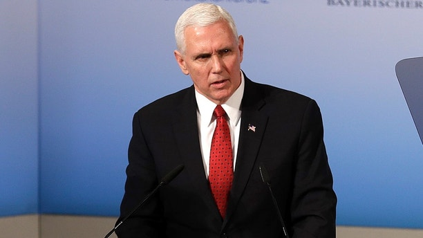 United States Vice President Mike Pence speaks during the Munich Security Conference in Munich, Germany, Saturday, Feb. 18, 2017. The annual weekend gathering is known for providing an open and informal platform to meet in close quarters. (AP Photo/Matthias Schrader)