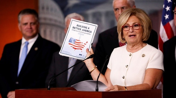 Rep. Diane Black (R-TN) announces the 2018 budget blueprint during a press conference on Capitol Hill in Washington, U.S., July 18, 2017. REUTERS/Aaron P. Bernstein - RTX3BY3M