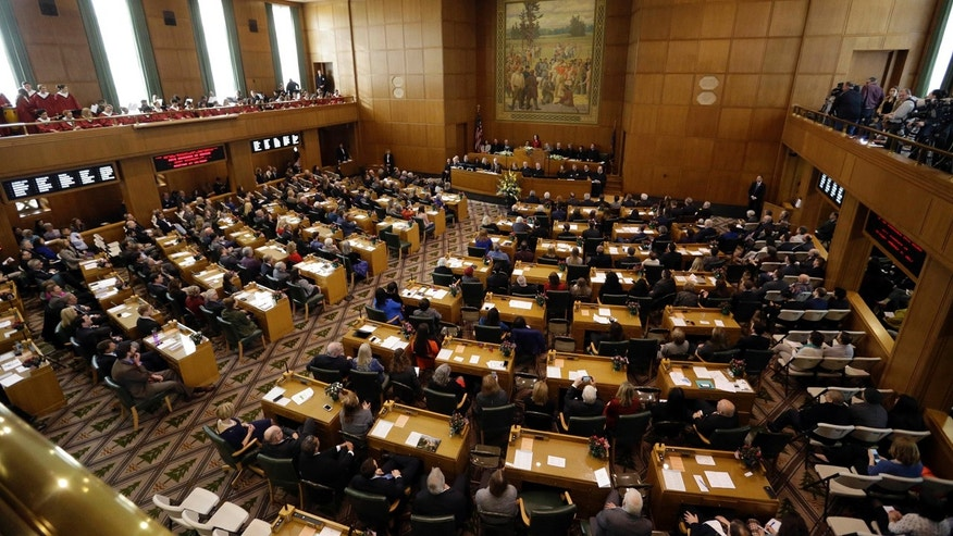 Oregon Gov. Kate Brown delivers her inaugural speech to Oregon legislators on Jan. 9, 2017 in the Capitol House chambers in Salem.