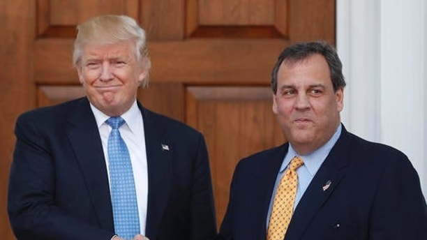 President-elect Donald Trump, left, and New Jersey Gov. Chris Christie shake hands at the Trump National Golf Club Bedminster clubhouse, Sunday, Nov. 20, 2016, in Bedminster, N.J.. (AP Photo/Carolyn Kaster)