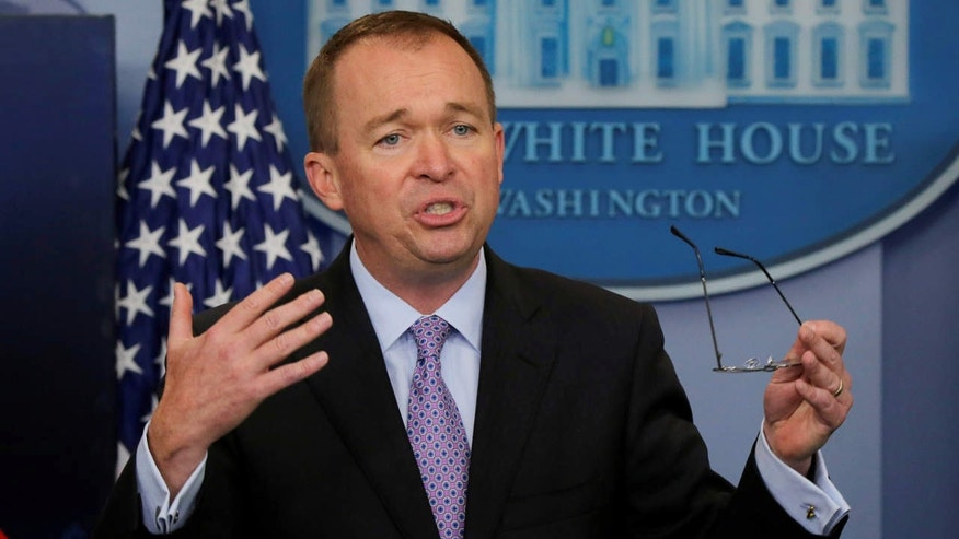 Office of Management and Budget Director Mick Mulvaney holds a briefing on President Trump's FY2018 proposed budget in the press briefing room at the White House in Washington, U.S., May 23, 2017.