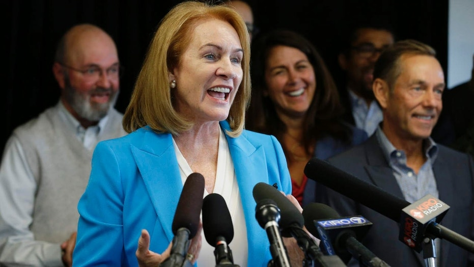 FILE - In this May 12, 2017, file photo, Jenny Durkan, a former U.S. Attorney, announces her candidacy for Seattle Mayor in Seattle.