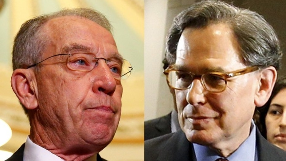 At left, Senate Judiciary Committee Chairman Chuck Grassley. At right, Sidney Blumenthal.