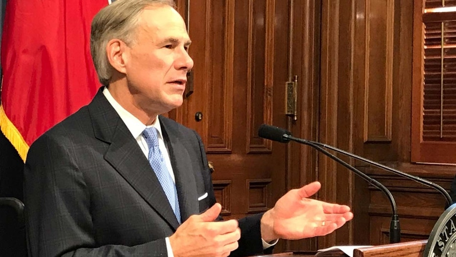 FILE: Texas Governor Greg Abbott speaks at a news conference in Austin, Texas