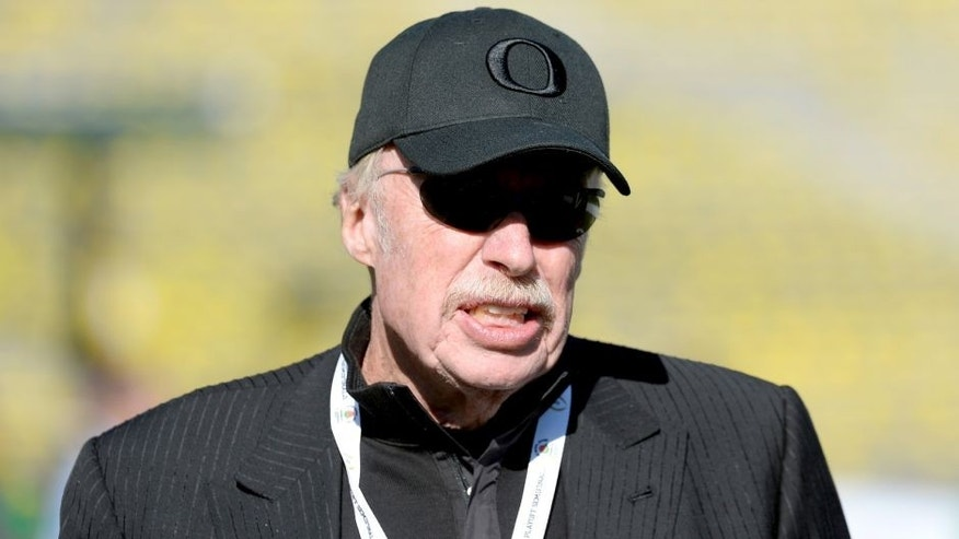 Nike co-founder Phil Knight, who donates frequently to political campaigns, is seen at the Rose Bowl in Pasadena, Calif., Jan. 1, 2015.