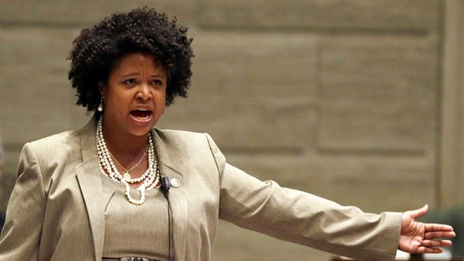 Missouri Democratic state Sen. Maria Chappelle-Nadal speaks on the Senate floor in Jefferson City, Mo. in September 2014.