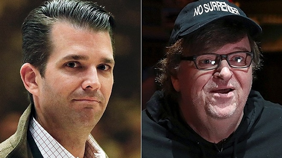 Donald Trump Jr., is seen at left (Reuters); Michael Moore at right (AP)