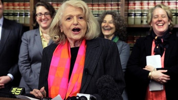 FILE - In this Oct. 18, 2012 file photo, Edith Windsor addresses a news conference at the offices of the New York Civil Liberties Union, in New York. Windsor, who brought a Supreme Court case that struck down parts of a federal law that banned same-sex marriage, died Tuesday, Sept. 12, 2017, in New York, according to her attorney. She was 88.  (AP Photo/Richard Drew, File)