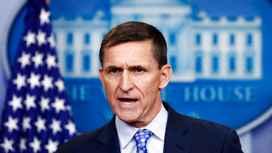 Then-National Security Adviser Michael Flynn speaks during the daily news briefing at the White House in February 2017.