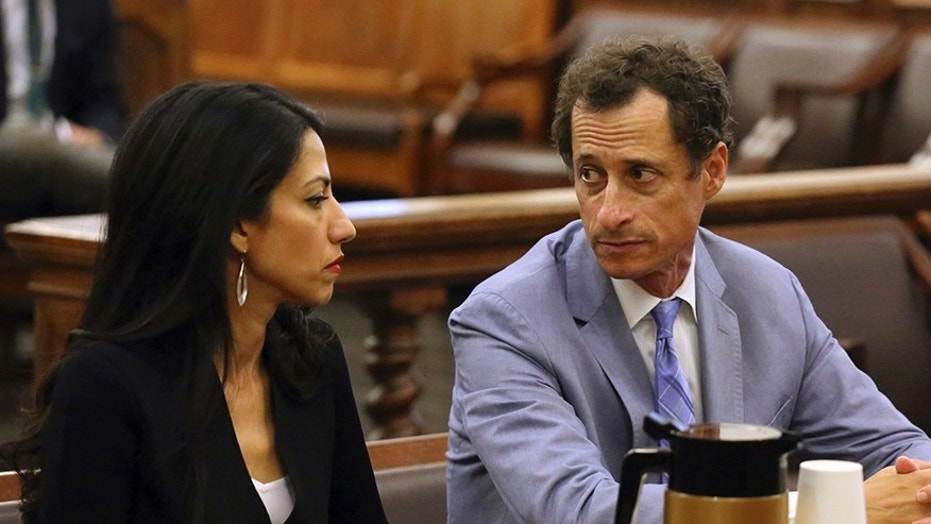 Anthony Weiner, right, and Huma Abedin appear in court in New York on Wednesday, Sept. 13, 2017. The couple asked a New York City judge to ask for privacy in their divorce case. (Jefferson Siegel/The Daily News via AP, Pool)