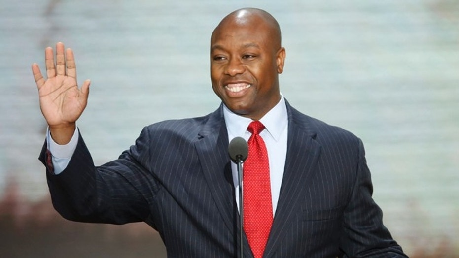 Sen. Tim Scott of South Carolina, the Senate's lone black Republican, bluntly criticized President Trump for assigning blame that put white supremacist protesters on equal footing with counterdemonstrators in Charlottesville in August.