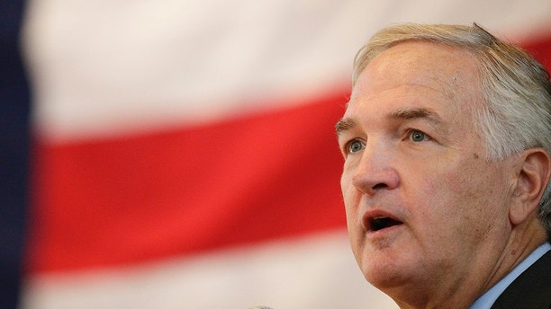 Sen. Luther Strange debates against U.S. Senate candidate Roy Moore on Thursday, Sept. 21, 2017, in Montgomery, Ala. (AP Photo/Brynn Anderson)