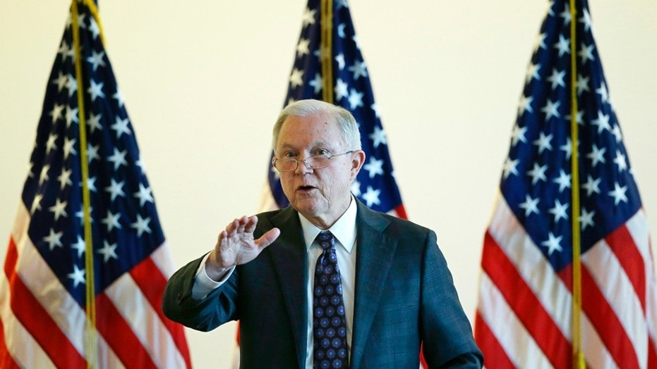 Attorney General Jeff Sessions speaks to law enforcement officials on Sept. 21, 2017, in Boston.
