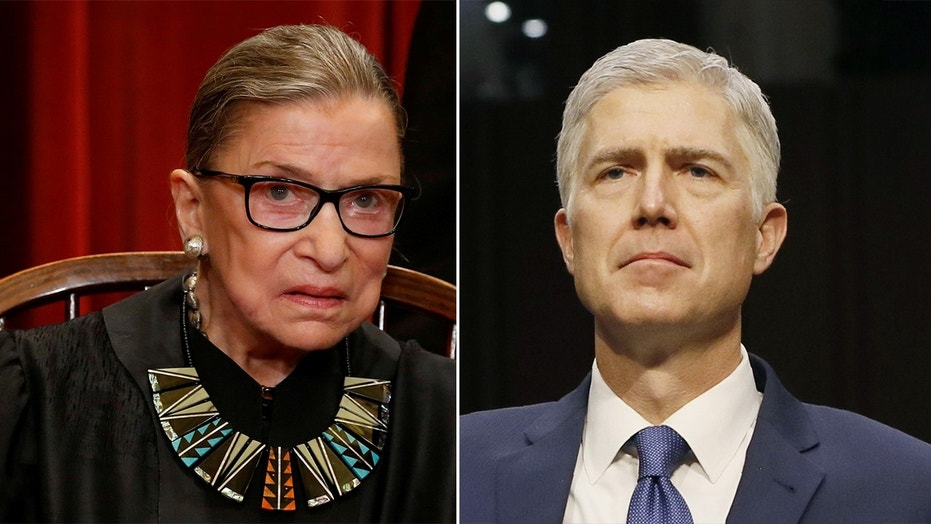 Supreme Court Justices Ruth Bader Ginsburg and Neil Gorsuch