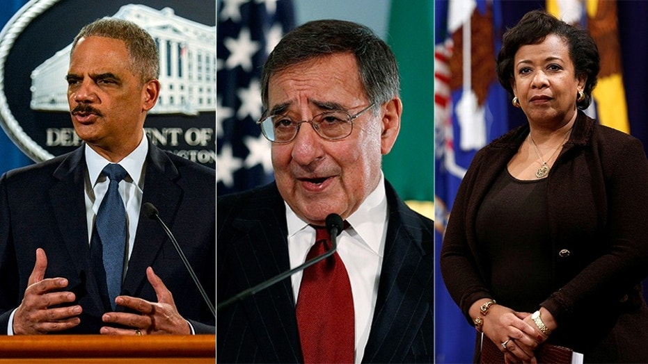 Obama administration officials (from left to right) Eric Holder, Leon Panetta and Loretta Lynch also took non-commercial flights.
