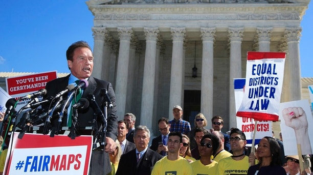 Former California Gov. Arnold Schwarzenegger speaks at a rally outside the U.S. Supreme Court in Washington, Tuesday, Oct. 3, 2017. The Supreme Court heard arguments in a case about political maps in Wisconsin that could affect elections across the country. (AP Photo/Manuel Balce Ceneta)