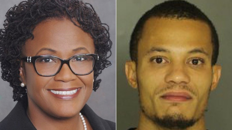 Mayor Kim Bracey of York, Pa. and a mugshot (r) of her son Brandon Anderson, 30