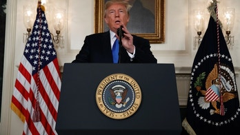 "President Donald Trump speaks about Iran from the Diplomatic Reception Room at the White House in Washington, Friday, Oct. 13, 2017. Trump says Iran is not living up to the ""spirit"" of the nuclear deal that it signed in 2015, and announced a new strategy in the speech. He says the administration will impose additional sanctions on the regime to block its financing of terrorism. (AP Photo/Evan Vucci)"