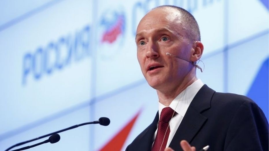 Carter Page, one-time adviser to then-candidate Donald Trump, addresses the audience during a presentation in Moscow, Russia, December 12, 2016.