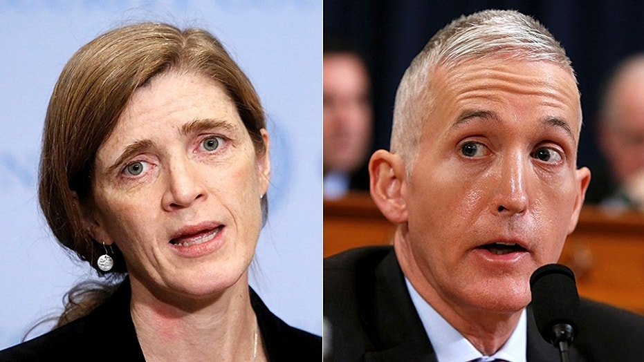 President Obama's ambassador to the United Nations has testified that others made so-called unmasking requests in her name, House Oversight Committee Chairman Trey Gowdy said Tuesday.