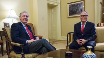 Senate Majority Leader Mitch McConnell, R-Ky., left, meets with Environmental Protection Agency (EPA) Administrator-designate Scott Pruitt, right, on Capitol Hill in Washington, Thursday, Jan. 6, 2017. (AP Photo/Zach Gibson)