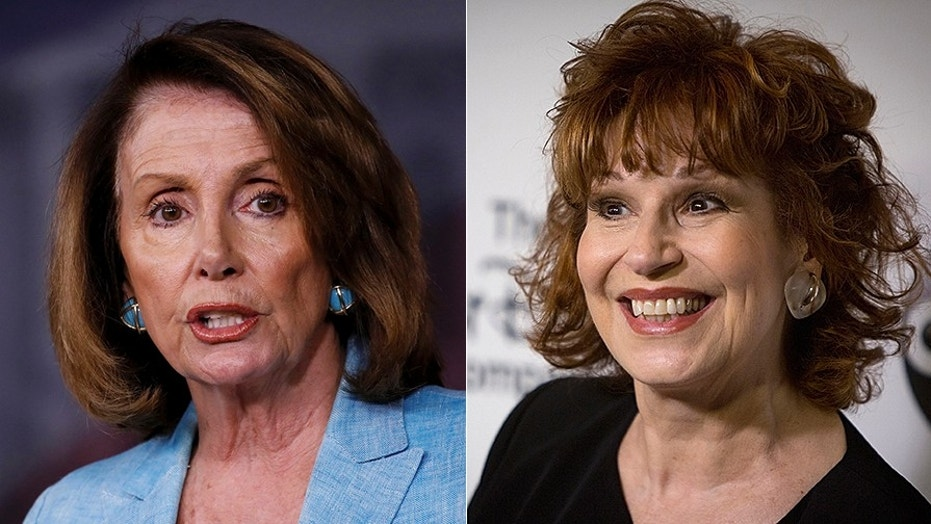 Nancy Pelosi, left, is defending Rep. Frederica Wilson against criticism of her tone, including from Joy Behar, right.