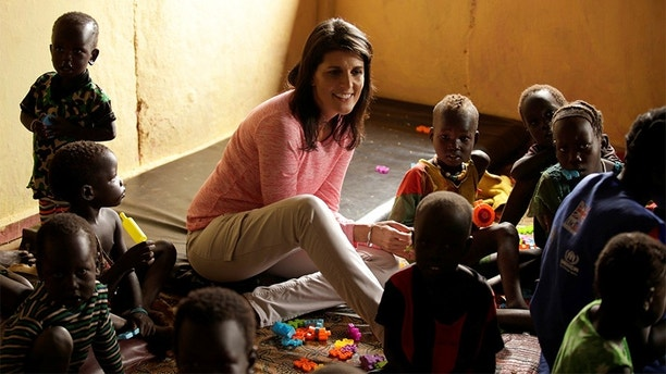 U.S. Ambassador to the United Nations Nikki Haley meets South Sudanese refugee children at the Nguenyyiel refugee camp in Gambella Region, Ethiopia October 24, 2017. REUTERS/Tiksa Negeri - RC146D4EFE00