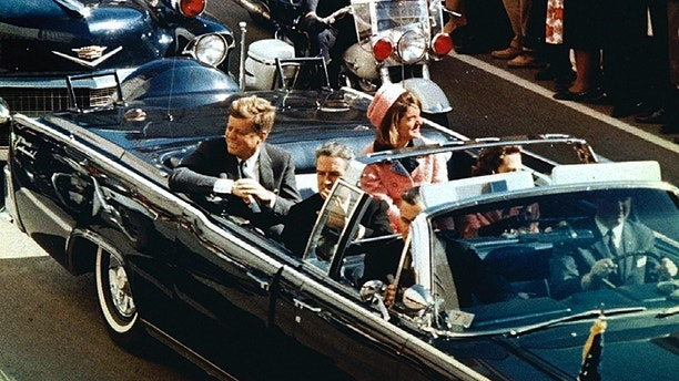 FILE PHOTO 22NOV63- President and Mrs. John F. Kennedy, and Texas Governor John Connally ride through Dallas moments before Kennedy was assassinated, November 22, 1963 - PBEAHUNGRBG