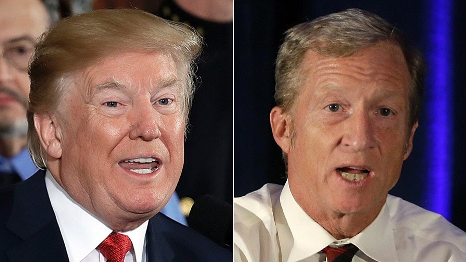 President Trump, at left, is slamming liberal billionaire Tom Steyer, at right, for his multi-million dollar ad campaign calling for Trump's impeachment.