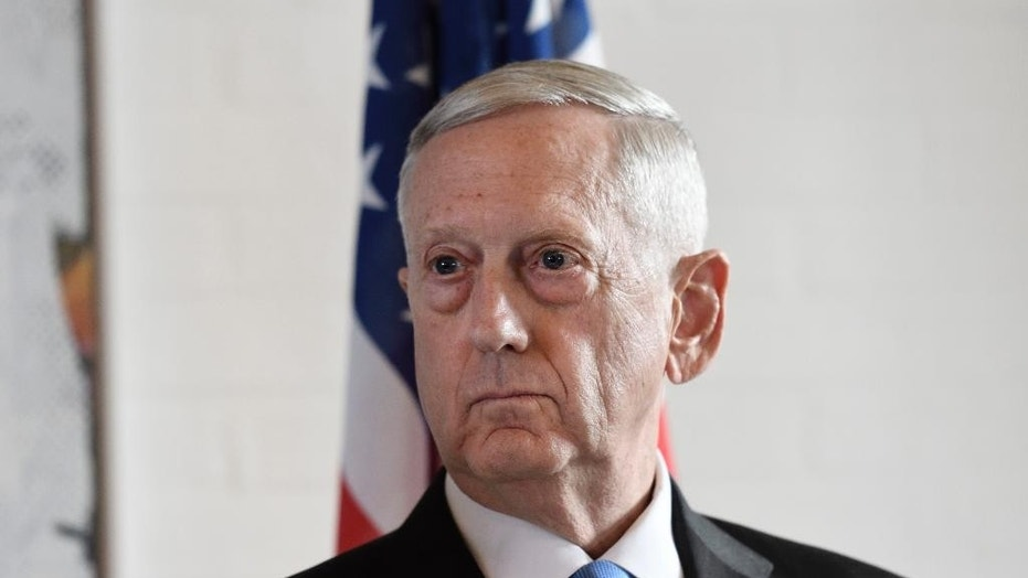 U.S. Secretary of Defense Jim Mattis, currently visiting South Korea, is seen during a news conference in Copenhagen, May 9, 2017.