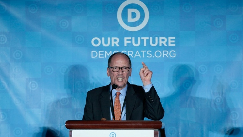 Democratic National Chair candidate, Tom Perez, addresses the audience as the Democratic National Committee holds an election to choose their next chairperson at their winter meeting in Atlanta, Georgia. February 25, 2017. REUTERS/Chris Berry - RC1FEF045460