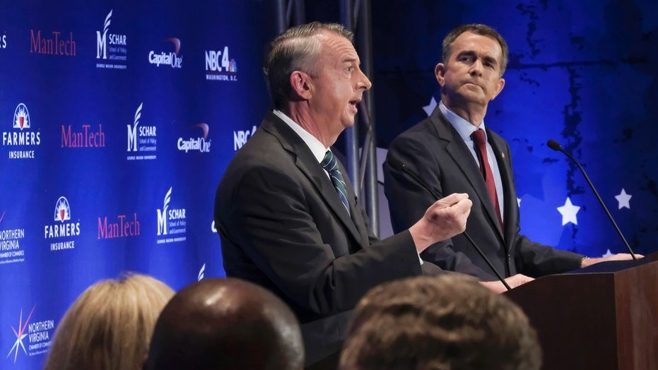 Gubernatorial candidates Ed Gillespie, left, a Republican, and Lt. Gov. Ralph Northam, a Democrat, face off in next month's election.