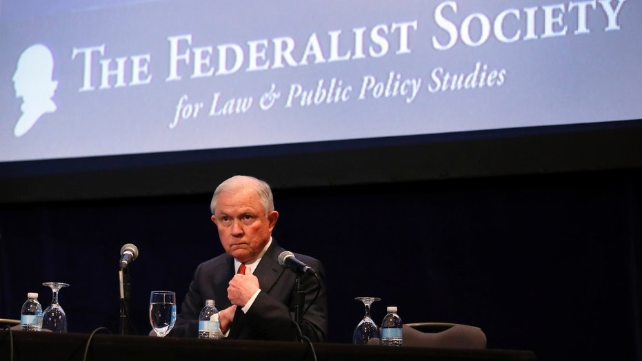 U.S. Attorney General Jeff Sessions pauses before speaking at the Federalist Society 2017 National Lawyers Convention in Washington, Nov. 17, 2017.