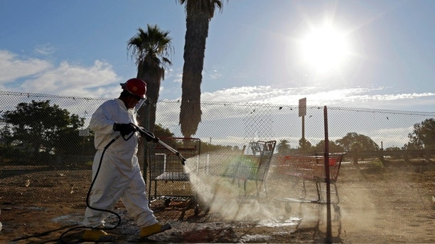 25 photo a worker sprays a bleach solution on