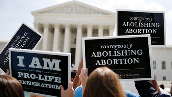 Anti-abortion protestors celebrate the U.S. Supreme Court's ruling striking down a Massachusetts law that mandated a protective buffer zone around abortion clinics,  outside the Court in Washington June 26, 2014. On a 9-0 vote, the court said the 2007 law violated the freedom of speech rights of anti-abortion protesters under the First Amendment of the U.S. Constitution in preventing them from standing on the sidewalk and speaking to people entering the clinics. REUTERS/Jim Bourg  (UNITED STATES - Tags: POLITICS CRIME LAW HEALTH CIVIL UNREST) - WASEA6Q0W2A01