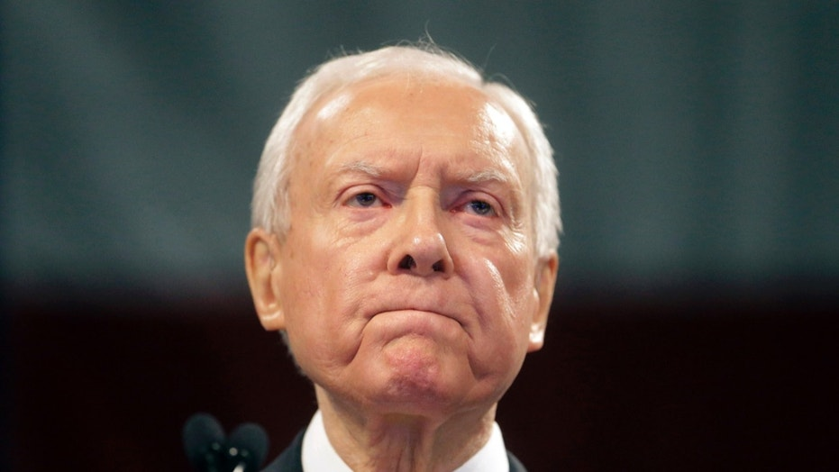 April 23, 2016: Sen. Orrin Hatch, R-Utah, speaks during the Utah Republican Party 2016 nominating convention in Salt Lake City.