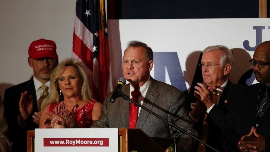 Former Alabama Chief Justice and U.S. Senate candidate Roy Moore during his election party, Tuesday, Sept. 26, 2017, in Montgomery, Ala.