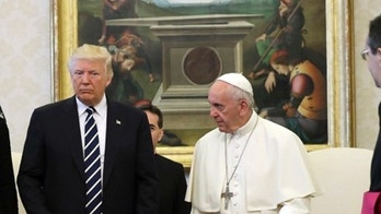 FILE - In this May 24, 2017 file-pool photo, President Donald Trump and first lady Melania Trump meet with Pope Francis at the Vatican. Sean Spicer finally got to meet the Pope. Vatican spokesman Greg Burke confirms the former White House press secretary attended a meeting with Pope Francis on Sunday, Aug. 27, 2017. Spicer, who is Roman Catholic, had been left off a list of White House officials who had the chance to meet with Pope Francis in May when Trump visited the Vatican. (AP Photo/Evan Vucci, Pool, File)