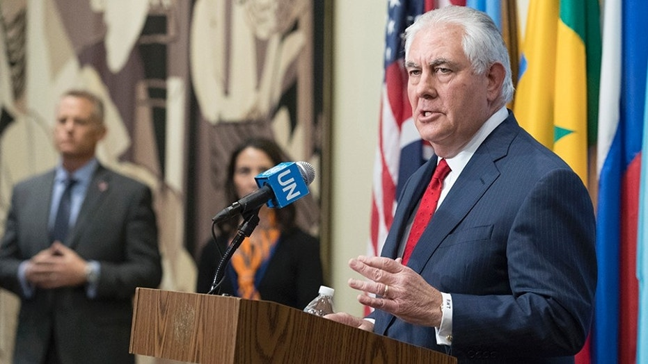 U.S. Secretary of State Rex Tillerson speaks to reporters after a high level Security Council meeting on the situation in North Korea, Friday, Dec. 15, 2017 at United Nations headquarters.