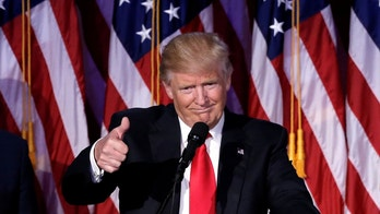 U.S. President-elect Donald Trump gestures as he speaks at election night rally in Manhattan, New York, U.S., November 9, 2016.