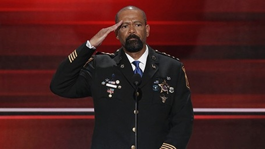 David Clarke at the Republican National Convention in 2016.