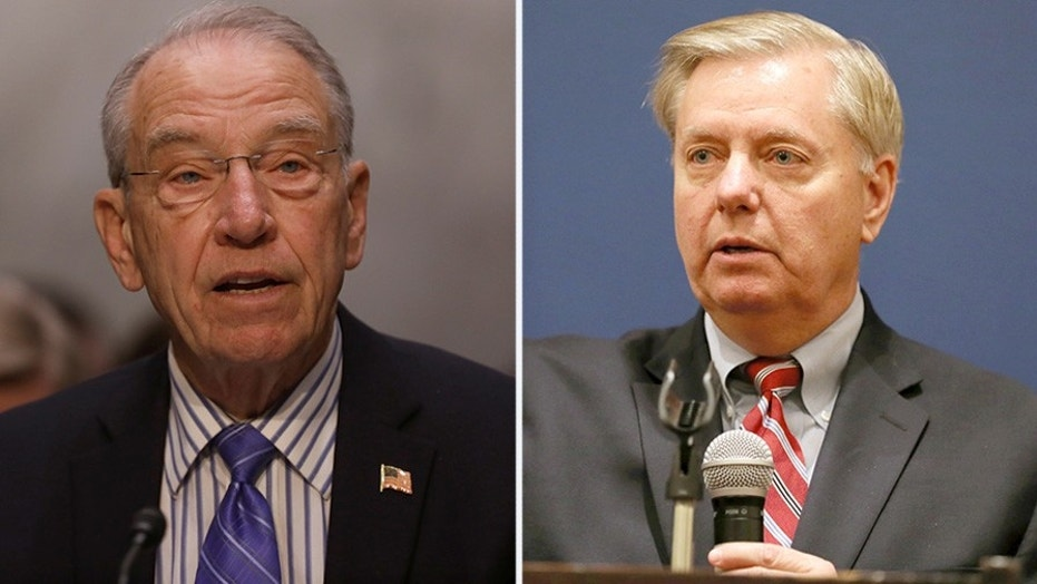 Senate Judiciary Committee Chairman Chuck Grassley, R-Iowa, seen at left, and Sen. Lindsey Graham, R-S.C., recommended the DOJ and FBI investigate the author of the anti-Trump dossier.