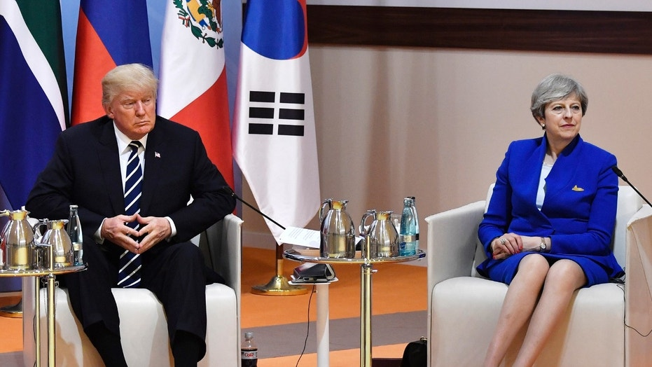 "July 7 to 8, 2017: U.S. President Donald Trump and Britain's Prime Minister Theresa May sit at the start of the ""retreat meeting"" on the first day of the G-20 summit in Hamburg, northern Germany."