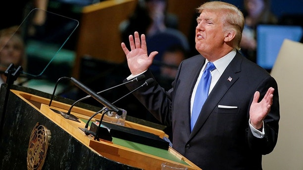 U.S. President Donald Trump addresses the 72nd United Nations General Assembly at U.N. headquarters in New York, U.S., September 19, 2017. REUTERS/Eduardo Munoz     TPX IMAGES OF THE DAY - RC15FE4DBE80