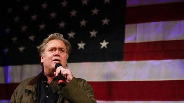Former White House strategist Steve Bannon speaks at a rally for U.S. Senate hopeful Roy Moore, Monday, Sept. 25, 2017, in Fairhope, Ala. Sen. Luther Strange and challenger Moore made their final push Monday to sway voters ahead of Alabama's Republican runoff for U.S. Senate, a race that's pitted President Donald Trump against his former strategist, Bannon. (AP Photo/Brynn Anderson)