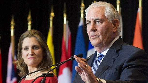 Canada's Minister of Foreign Affairs, Chrystia Freeland and Secretary of State of the United States, Rex Tillerson address a news conference following a meeting on the Security and Stability on the Korean Peninsula in Vancouver, British Columbia, Tuesday, Jan. 16, 2018.  (Jonathan Hayward/The Canadian Press via AP)