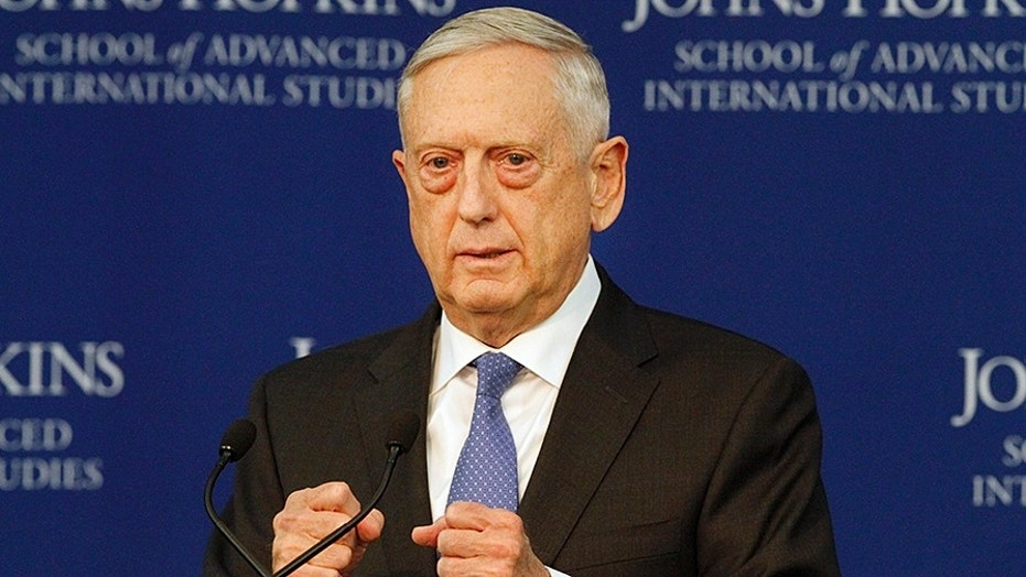 Defense Secretary James Mattis speaks about the National Defense Review Friday in Washington