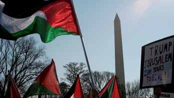 Protesters wave Palestinian flags at a demonstration organized by the US Council of Muslim Organizations in opposition to U.S. president Donald Trump's announced intention to move the U.S. embassy in Israel to Jerusalem, at the Ellipse near the White House in Washington, U.S., December 16, 2017. REUTERS/James Lawler Duggan - RC1AF3FEC3B0