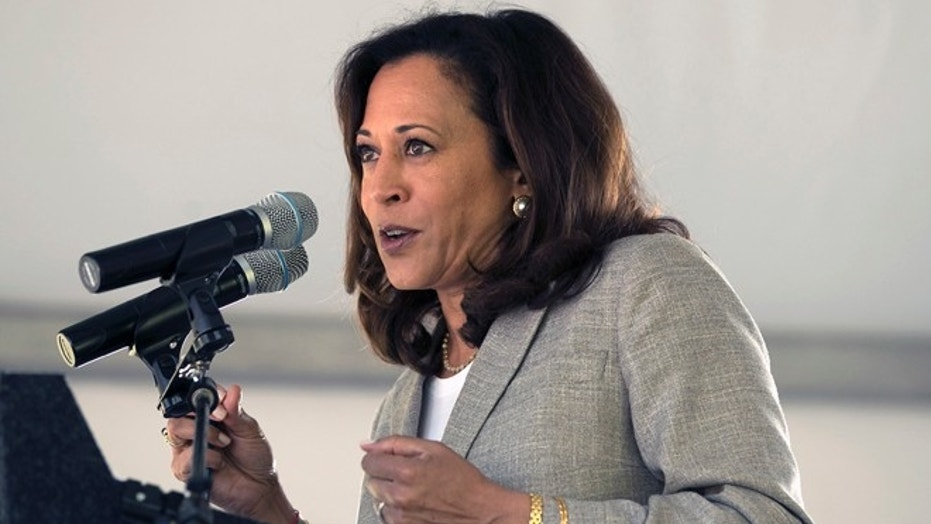 Sen. Kamala Harris was among a group of Democrats who voted against Monday's government spending bill.