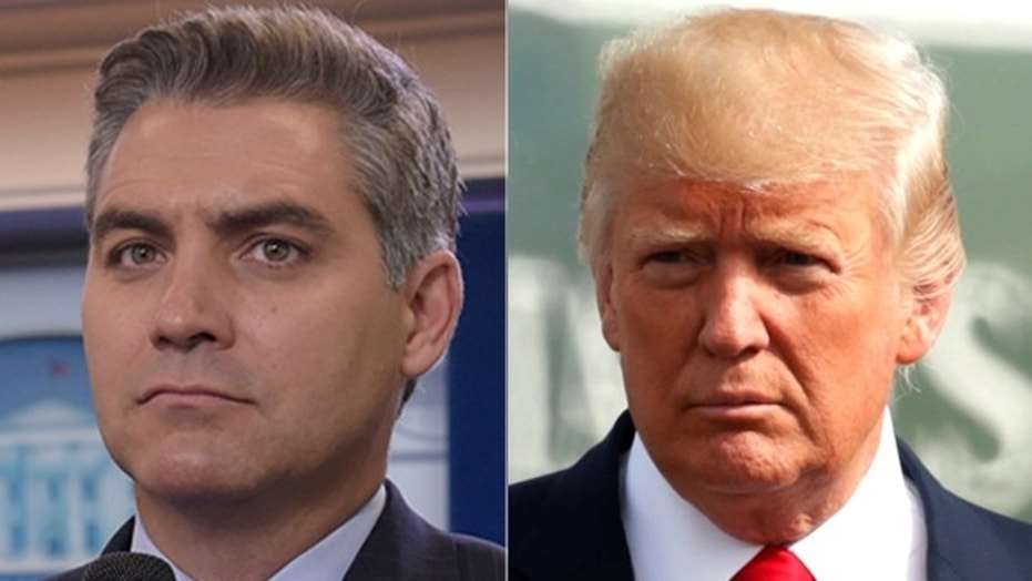 "CNN star Jim Acosta, left, has sparred with the White House throughout the Trump administration, with President Trump repeatedly calling him ""Fake news."""